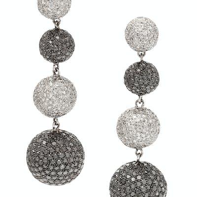 A Pair of White Gold, Diamond and Black Diamond Earrings