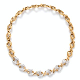 An 18 Karat Yellow Gold and Diamond Collar Necklace