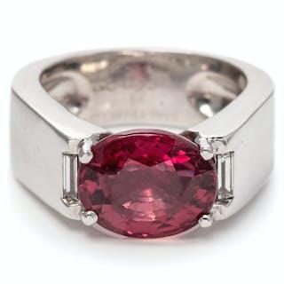 An 18 Karat White Gold, Red-Orange Sapphire and Diamond Ring, Cartier