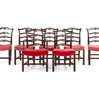 A Set of Seven George III Style Dining Chairs