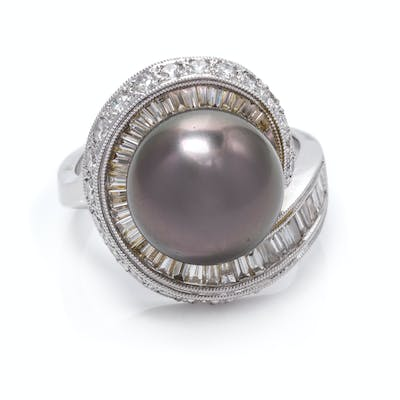 An 18 Karat White Gold, Cultured Tahitian Pearl and Diamond Ring