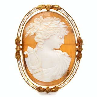 A 14 Karat Yellow Gold and Shell Cameo Pendant/Brooch
