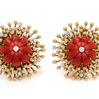 A Pair of 18 Karat Yellow Gold, Coral and Diamond Earclips, Tiffany