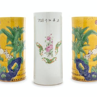 Three Chinese Porcelain Hat Holders