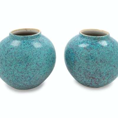 A Pair of Chinese Robin's Egg Glazed Porcelain Water Droppers