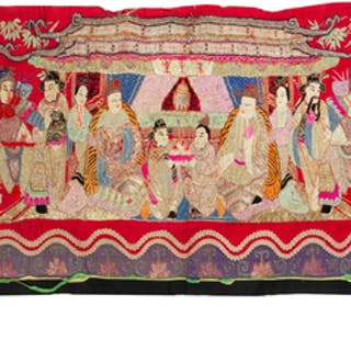 Five Chinese Embroidered Silk Panels