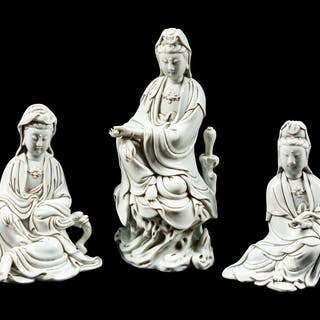 Three Chinese Export Blanc-de-Chine Figures of a Seated Guanyin