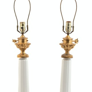 A Pair of Empire Style Porcelain Columnar Form Table Lamps