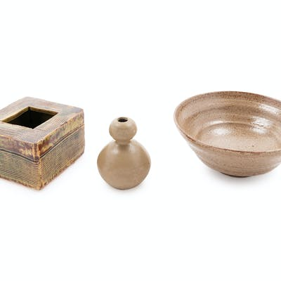 Three Japanese Glazed Pottery Articles