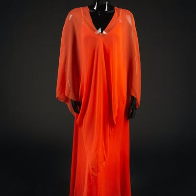 Dress and Poncho, 1970s. Dress designed by Edith Head and made by