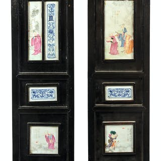 Two Chinese Porcelain Inset Hardwood Wall Panels