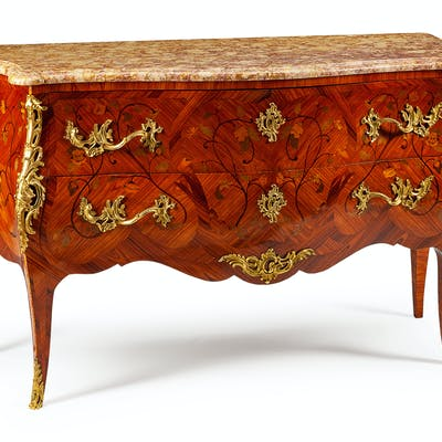A Louis XV Style Gilt-Bronze-Mounted Marquetry Commode