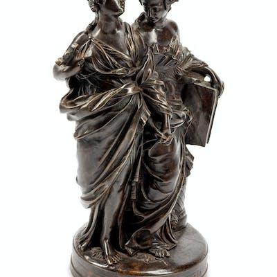 A French Patinated Bronze Figural Group: La Musique S'inspire de la