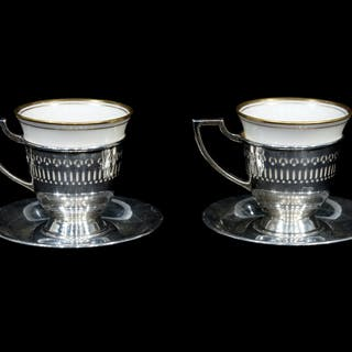 A Set of Twelve American Silver Demitasse Cup Frames and Saucers