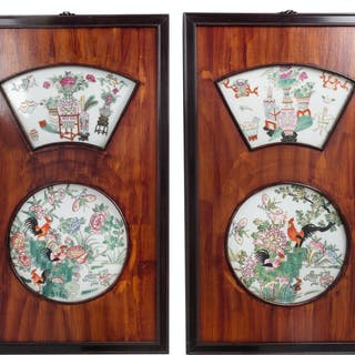 A Pair of Chinese Famille Rose Porcelain Insets Hardwood Wall Panels