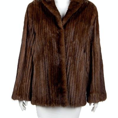 Brown Sable Collarless Fur Coat, 1980's