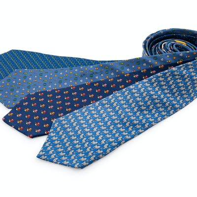 Four Salvatore Ferragamo Silk Ties