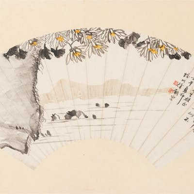 Three Chinese Ink and Color Paintings on Fan Leaves