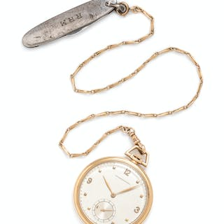 International, 14K Yellow Gold Open Face Pocket Watch with Fob Chain