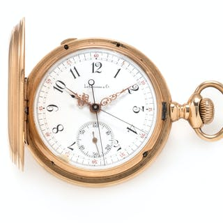 Le Coultre, 18K Yellow Gold Hunter Case Split Second Chronograph Pocket Watch