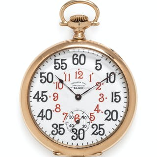 Elgin, 14K Yellow Gold Open Face 'Ferguson Dial' Pocket Watch, Circa 1906