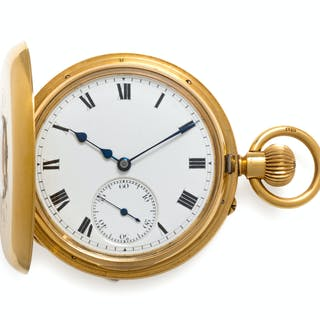 Rotherhams, 18K Yellow Gold Demi-Hunter Case Pocket Watch, London, Circa 1915