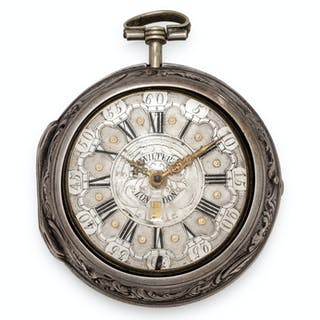 Wilter, London, Silver Pair Cased  Open Face Verge Calendar Pocket Watch