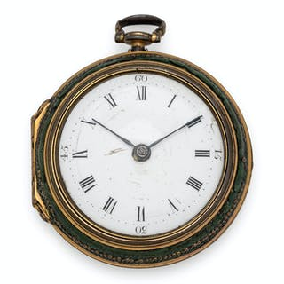 T. Weeks London, Pair Cased Open Face Verge Pocket Watch