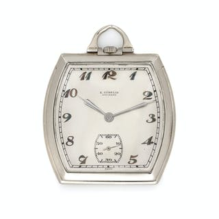 E. Gubelin Lucerne, 18K White Gold Open Face Pocket Watch,