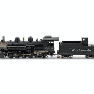 A Fujiyama Polychrome OO-Gauge Rio Grande 2-8-2 Locomotive and Tender