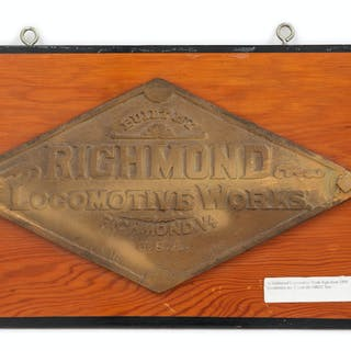 Two Painted Metal Richmond Locomotive Works Locomotive Badges for