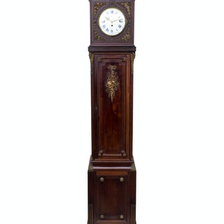 A French Gilt Bronze Mounted Carved Mahogany Tall Case Clock