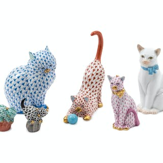 A Collection of Herend Felines