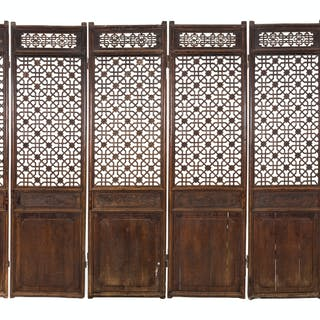 A Chinese Pierce-Carved Hardwood Six-Panel Floor Screen