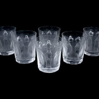 A Set of Six Lalique Molded and Frosted Glass Tumblers