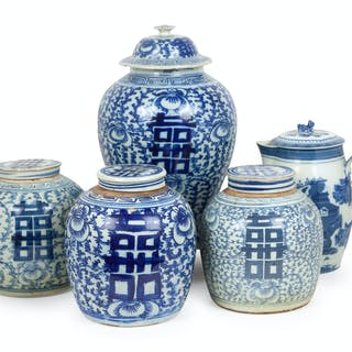 An Assembled Group of Chinese Blue and White Porcelain Articles