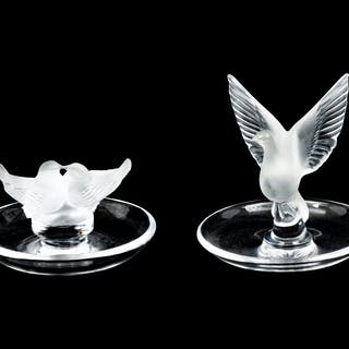 Two Lalique Molded and Frosted Glass Ring Trays
