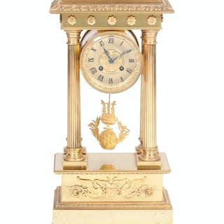 An Empire Style Gilt Bronze Portico Clock