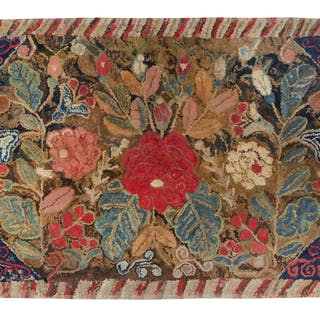 A Floral Decorated Hooked Rug