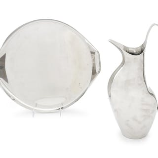 A Danish Stainless Steel Water Pitcher and Tray