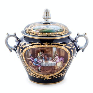 "A Sèvres Style Painted, Parcel Gilt and ""Jeweled"" Porcelain Covered Jar"