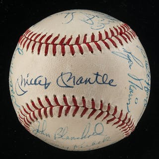 a71874a391c 1960 New York Yankees team autographed baseball (American League Champions)