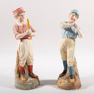 Heubach German bisque porcelain baseball figurines c.1880s