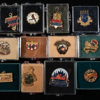 Lot of (42) 1983-2016 World Series press pins and charms