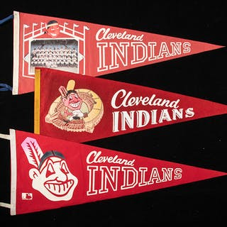 Lot of (3) Cleveland Indians pennants c.1950s-60s