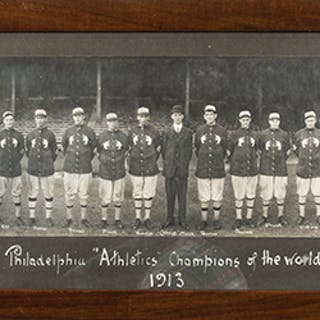 Scarce 1913 Philadelphia Athletics team panoramic photograph by William Jennings