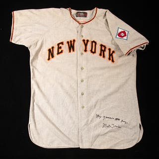 Rare 1951 Monte Irvin autographed New York Giants professional model road jersey