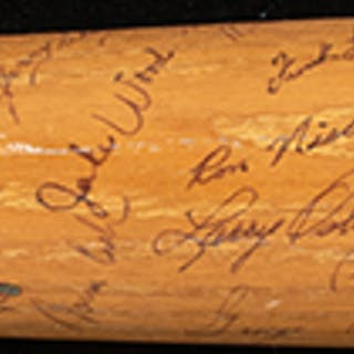 1961 Detroit Tigers team signed Rocky Colavito half bat