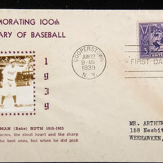Babe Ruth autographed 1939 Centennial photographic cachet