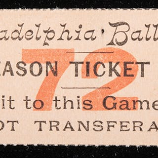 Rare 1896 Philadelphia Phillies ticket stub
